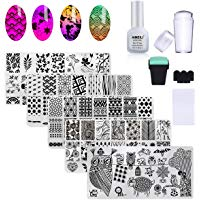 Meilleures sur  - AIMEILI Nail Art Stamping Plates Set Manicure Pedicure Kit 5Pcs Nail Plates, 2 Stamper, 2 Grattoir, 1 Latex Peel Off Tape